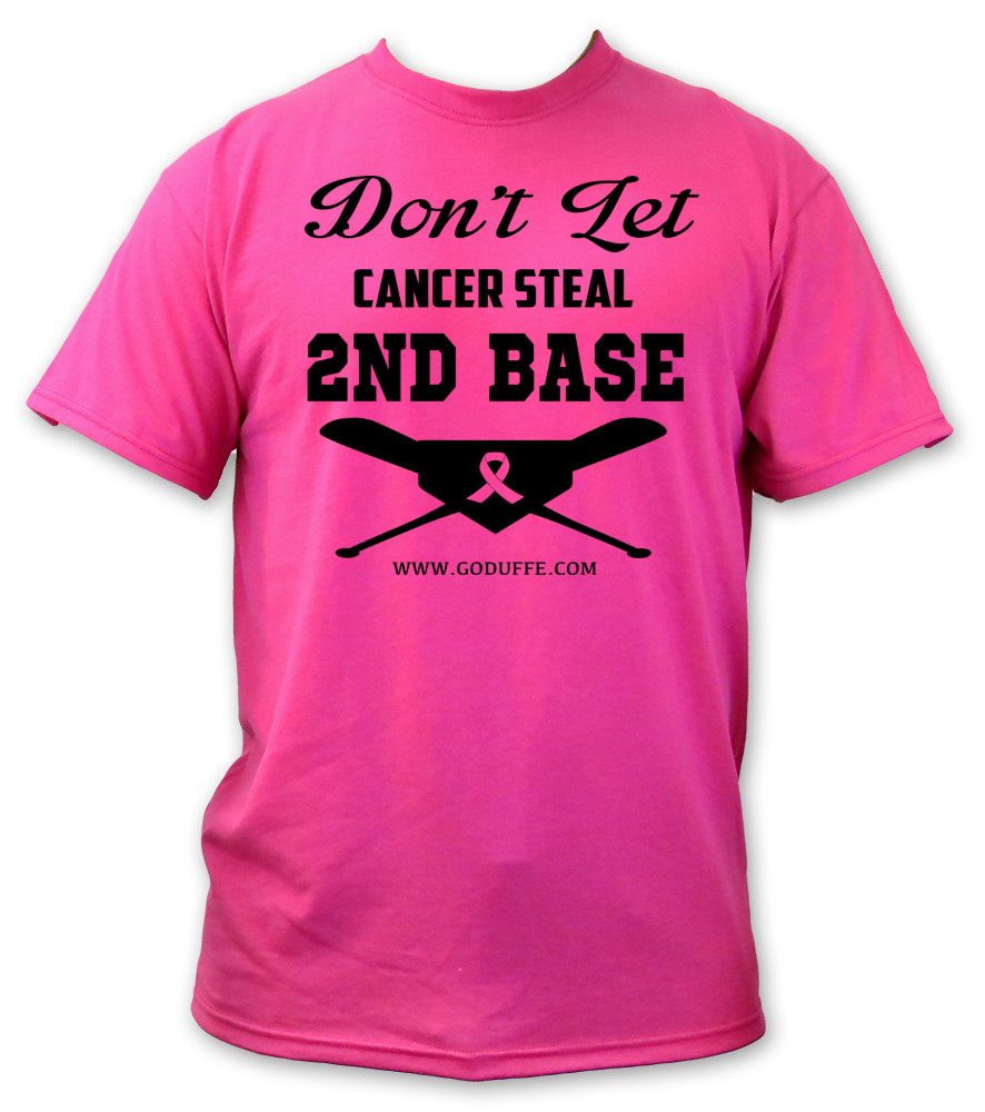 DONT LET CANCER STEAL SECOND BASE BREAST CANCER AWARNESS T SHIRT HITETARS